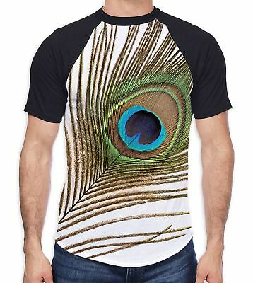 Single Peacock Feather Men's All Over Baseball T Shirt - Feathers Print Birds