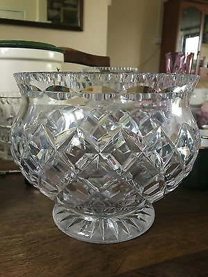 Huge Tudor Crystal footed Rose Bowl. Deep cutting and very heavy signed under