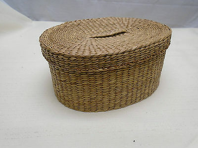 Nice Vintage Native Woven Sweetgrass Sweet Grass Oval Lidded Utility Basket 7""