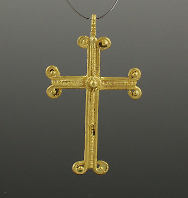 Medieval Gold Cross - Circa 14Th Century Ad