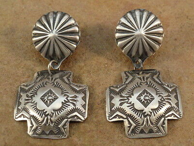 Small Old Style Navajo Sterling Silver Stamped Santa Fe Cross Earring