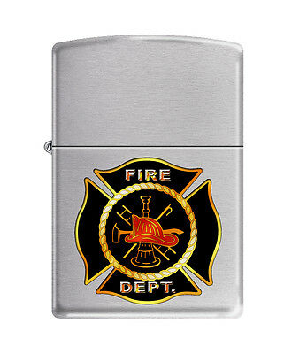 Zippo 9712, Fire Department-Hat and Logo,  Brushed Chrome Lighter