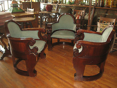 Set/3 Empire 1920's Solid Mahogany Arm Chairs 1920's Side Chair