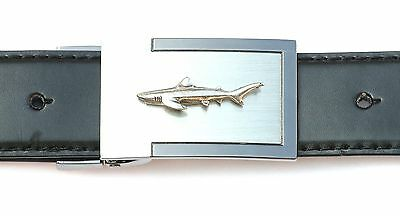 Shark Emblem Belt Buckle and Leather Belt in Gift Tin Ideal Wildlife Present