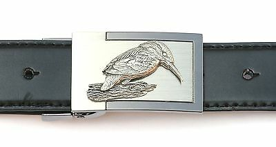 Kingfisher Perched Belt Buckle n Leather Belt in Gift Tin Ideal Wildlife Present