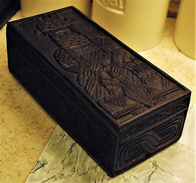 Old Vintage Carved Wooden Box Benin Nigeria Oba