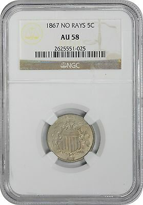 1867 Shield No Rays Nickel AU58 NGC Almost Uncirculated 58