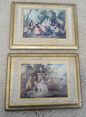 Two Vintage Italian Wood Gold Gilt Wall Pictures