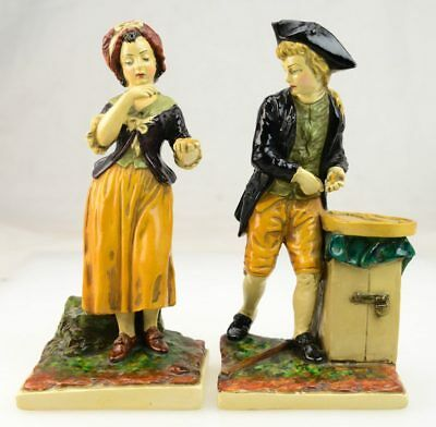 Pair of Vintage Niepold Borghese Chalkware Traveler Man & Woman Figurines L1B
