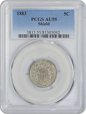 1883 Shield Nickel AU55 PCGS Almost Uncirculated 55