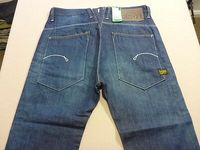 037 Mens Nwt G-Star Raw Hank Loose Fit Rich Blue Fade Jeans 34 / 32 L $250 Rrp.
