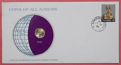 Coins Of All Nations Cover 1981 With Genuine Brunei Coin & Cancel