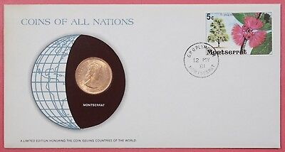 Coins Of All Nations Cover 1981 With Genuine Montserrat Gb Caribbean Terr Coin