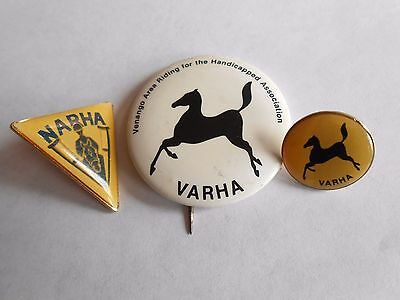 Lot of 3 Vintage VARHA & NARHA Riding For The Handicapped Association Horse Pins