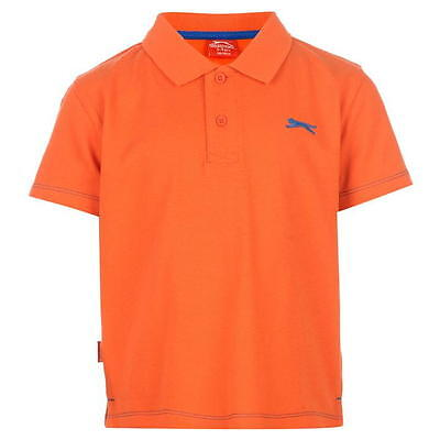 Boys Girls Size 5-6yrs 100% Cotton Tangerine Orange SLAZENGER Polo T-Shirt