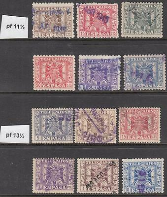 Spain Telegraph Stamps perf types 12 diff used stamps 1940s