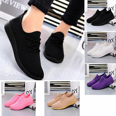 Womens Casual Running sport shoes Athletic Sneakers Breathable Mesh walking Flat