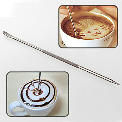 Stainless Steel Coffee Art Pen Latte Cappuccino Needle Garland Cafe Tool