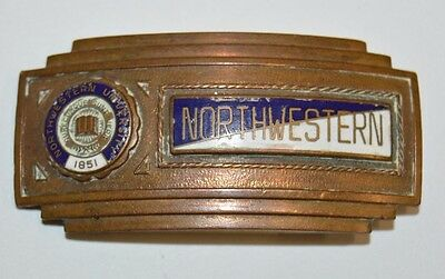 Vintage Northwestern College 1940s Football Uniform Class Brass Slim Belt Buckle