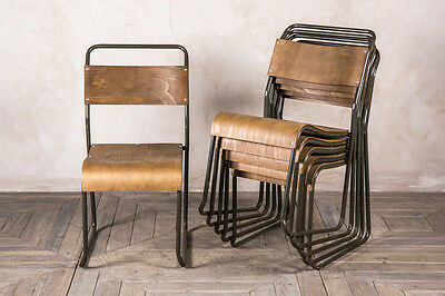 Plywood Stacking Chairs Army Green Khaki Chairs Retro Seating Bars Restaurants