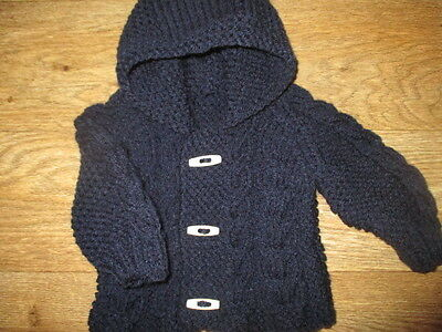new hand knitted  navy chunky aran  cardigan/jacket 3/6 months months