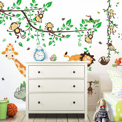 wandtattoo wandsticker aufkleber baum wald sticker foto eulen kinderzimmer affe eur 11 98. Black Bedroom Furniture Sets. Home Design Ideas