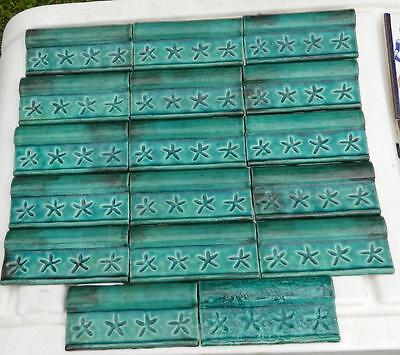 VINTAGE Set of 17 Sizo A 2 Coat Englobe 3 Jade Clay Border Tiles