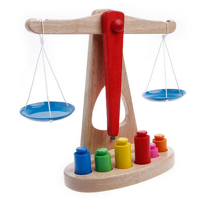 Funny Educational Baby Early Evelopment Scale Balance Wooden Toy Game New