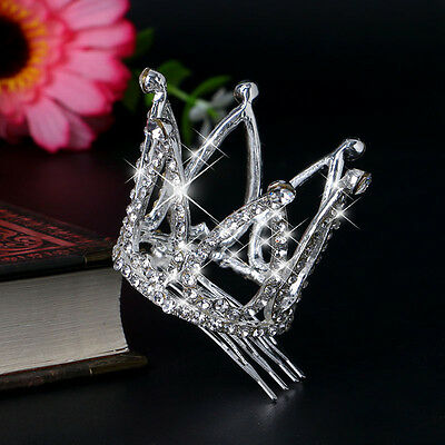 Women Mini Baby Girl Rhinestone Crown Bridal Tiara Hair Comb Pin Wedding Party