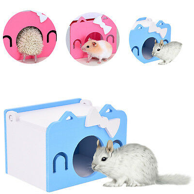 Wood House Bed Cage Nest For Small Animal Pet Hamster Hedgehog Gerbil Mice Mouse
