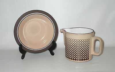 Hornsea Pottery Coral 20oz Pitcher + Cereal Bowl Tan Brown Circles England