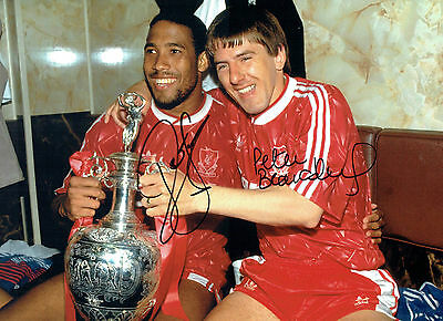Peter BEARDSLEY & John BARNES Signed Autograph 16x12 Liverpool Photo AFTAL COA