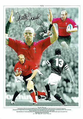Gareth THOMAS Signed Autograph 16x12 Wales Welsh RUGBY Montage Photo AFTAL COA