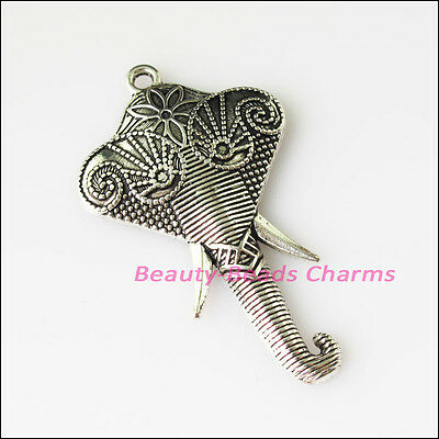 1 New Big Elephant Head Animal Tibetan Silver Tone Charms Pendants 51x84mm