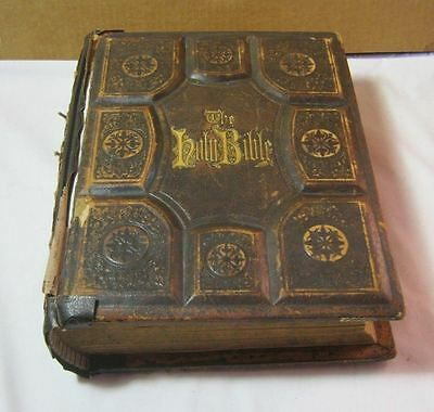 Antique The Holy Bible Holman Edition Old & New Testiment 1880 Leather Book  T*