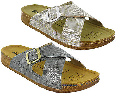 Inblu Leather Sandals Slip On Lined Twin Buckle Summer Beach Padded Mens Flats