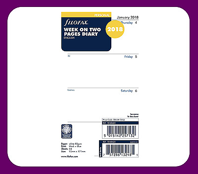 Filofax Personal size 2018 Diary Week on Two Pages Insert Refill 18-68421