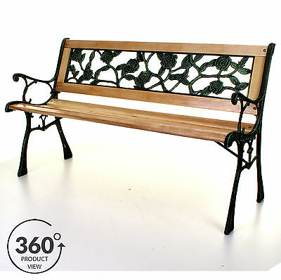 Outdoor Wooden 3 Seater Cross Rose Garden Bench Park Seat with Cast Iron Legs