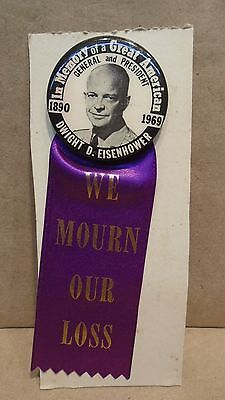In Memory Of A Great American General & President Dwight D Eisenhower Pin Ribbon