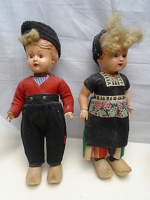 "Vintage Old Pair of Dutch Dolls by Haly Elcee Made in Holland Boy Girl 12"" Clogs"