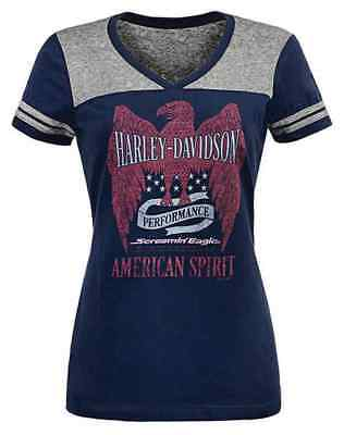 Harley-Davidson Womens Screamin' Eagle American Spirit Colorblock Tee HARLLT0204