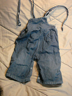 Vintage 50s Childs Boys Denim Overalls Straps Snaps Toddler FLANNEL LINED 18 mos