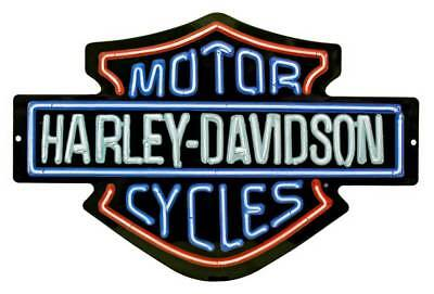 Harley-Davidson Neon Design Embossed Bar & Shield Tin Sign, 19 x 12 in 2011381