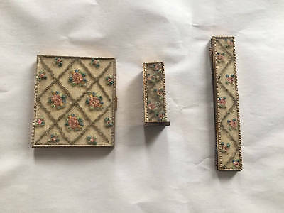 Vintage Cosmetic Set Lipstick Holder Compact Pressed Powder & Comb 1940's