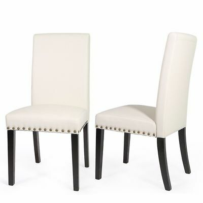 1Pair Elegant Design Modern beige Leather Parson Dining Chairs Barton Furniture