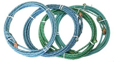 Kid Rodeo Lariat Lasso 20ft Made in USA Waxed Rope Leather Burner Blue Green