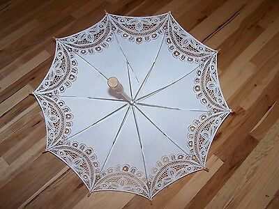 """Embroidery Lace Parasols Wooden Shaft Cotton Cloth Umbrella 30"""" in Diameter"""