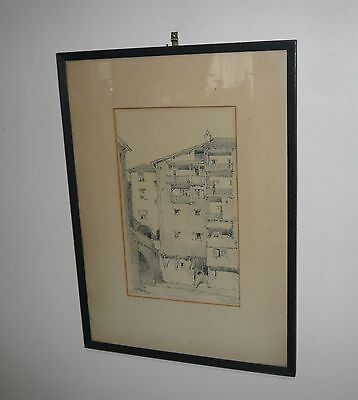 Rare Pencil Drawing By Australian Architect B.j. Waterhouse & Titled Dated 1927
