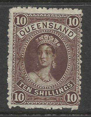 QUEENSLAND - 1882/85 10s BROWN - FU - S#77 - St 276