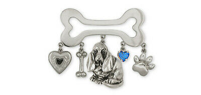 Basset Hound Brooch Pin Jewelry Sterling Silver Handmade Dog Brooch Pin BAS5-PN